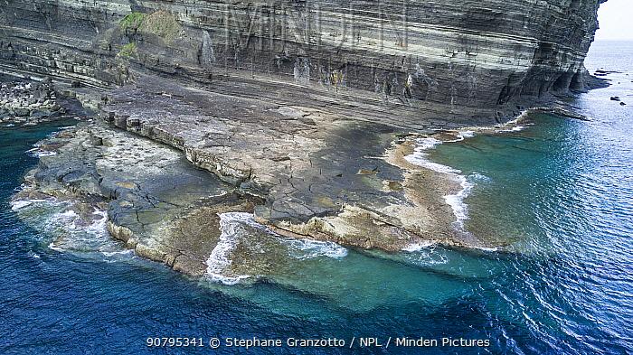 Aerial view of coast around the Yonaguni Monument, Yonaguni Island, Japan. October 2017.