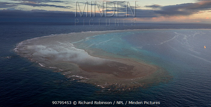 Aerial view of North Minerva Reef also known as Teleki Tokelau, a disputed territory in the South Pacific between Tonga and Fiji.