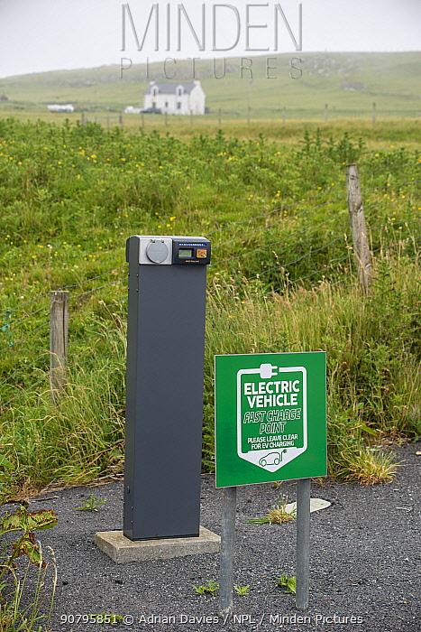Electronic vehicle charging point in remote location, Fetlar, Shetland, Scotland, UK. June 2018.