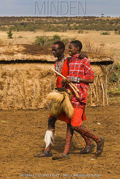 Maasai teenagers in village after dance.Kenya, Africa September 2006.