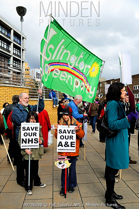 Islington Green Party Banner at the Save the Whittington Hospital A&E March, Archway, London Borough of Islington, UK