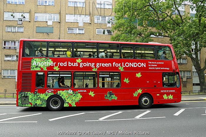 London dpuble-decker bus powered by electric hybrid technology, London, UK August 2009