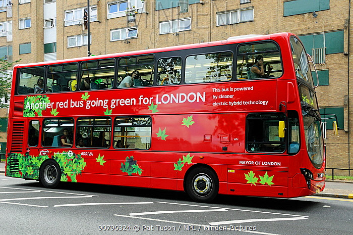 Double decker London bus powered by electric hybrid technology, London, UK August 2009