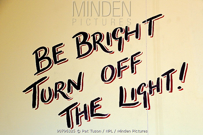 Be Bright Turn Off the Light, written on the lavatory wall at Hackney City Farm, London, England UK