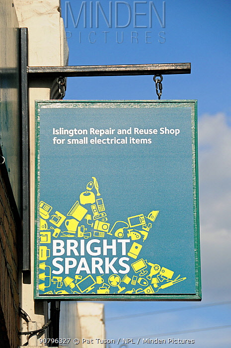 Bright Sparks sign, Islington Repair and Reuse Shop for small electrical items, London UK