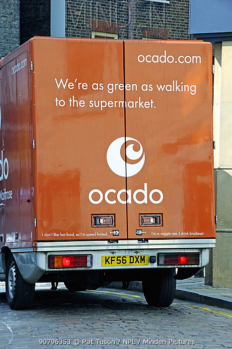 Back of an Ocado van saying - We're as green as walking to the supermarket - Hampstead, London, England, UK
