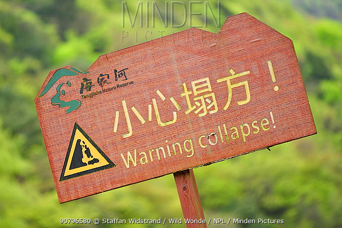 Warning Collapse sign, Tangjiahe National Nature Reserve,Qingchuan County, Sichuan province, China