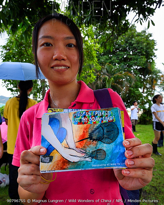 Secondary school student shows post cards they have made at the release event of juvenile Horseshoe crab ( Tachypleus tridentatus) artificially-bred by City University of Hong Kong. Ha Pak Nai Wetlands, Hong Kong, China. June, 2016.