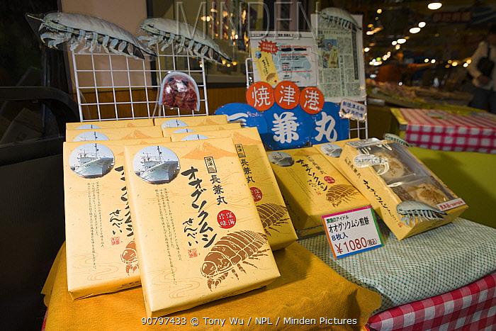 Senbei rice crackers made with Giant isopod (Bathynomus doederleinii) at a seafood market. Suruga Bay, Shizuoka Prefecture, Honshu, Japan. April 2018.