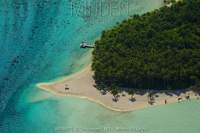 Aerial view of Bora Bora Island, Society Islands, French Polynesia. July 2006