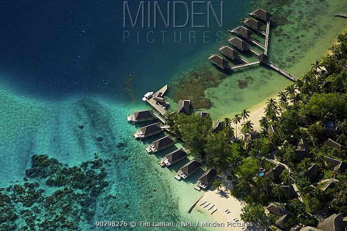 Aerial view of tourist lodges on Bora Bora Island, Society Islands, French Polynesia. July 2006