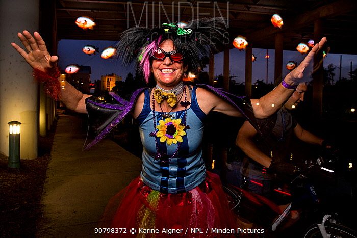 Park ranger Niki Lake poses as  'Batty the Clown' in San Antonio in San Antonio where a bachelor colony of Mexican free-tailed bats (Tadarida brasiliensis) live under the bridge. San Antonio, Texas, USA, July 2015.
