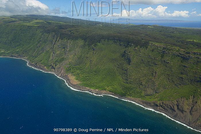 Aerial view of cliffs of north Moloka'i, Molokai Island, Hawaii.