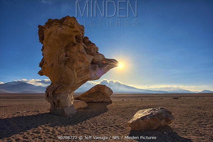 Rock Tree / Arbol de Piedra, an isolated rock formation, Siloli Desert, Altiplano / Andean Plateau. Eduardo Avaroa Andean Fauna National Reserve, Sur Lipez Province, Bolivia. March 2017.