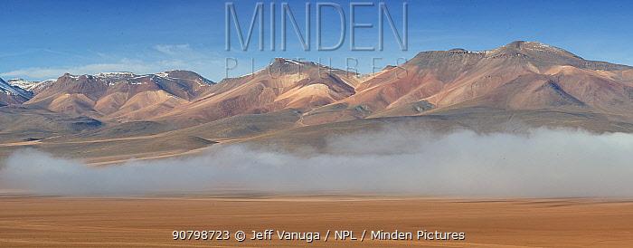 Rhyolite mountains above low cloud, Siloili Desert, Eduardo Avaroa Andean Fauna National Reserve, Sur Lipez Province, Bolivia. March 2017.