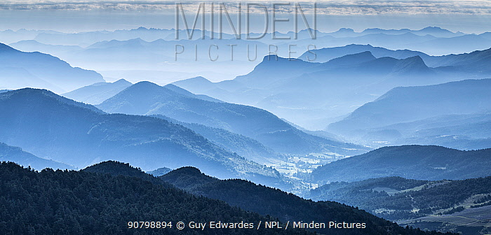 View at dawn over Hautes-Alpes from Col de Perty, The Baronnies, Provence, France.. July 2014