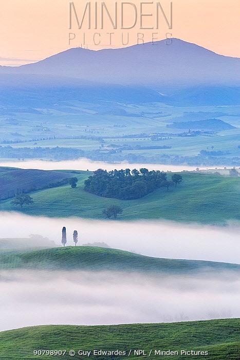 Dawn with fog over farmland, Pienza, Tuscany, May 2014.