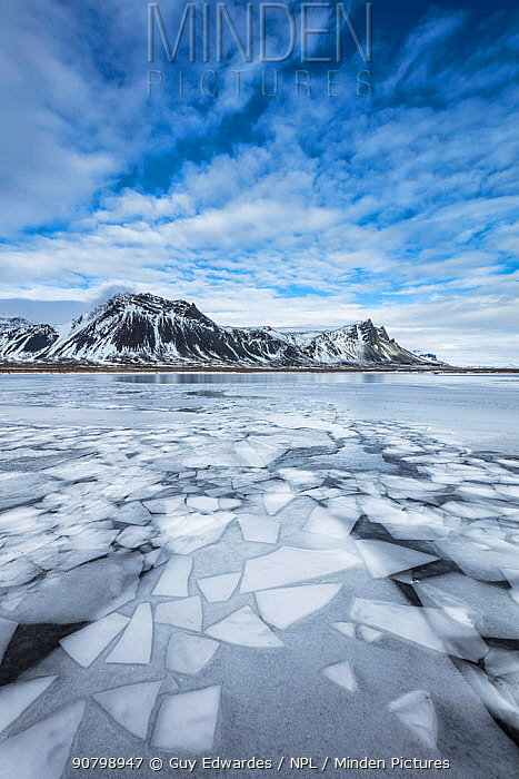 Frozen lake, Snaefellsnes, Iceland, March 2017.