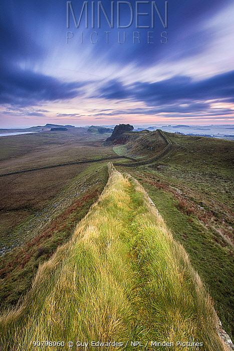 Landscape of Hadrian's Wall, Northumberland, England, UK, December 2013