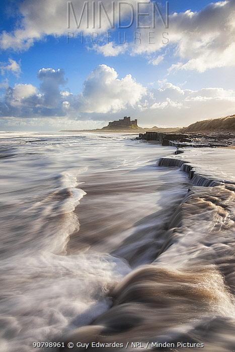 Long exposure of waves near Bamburgh Castle, Northumberland, England, UK. December 2012