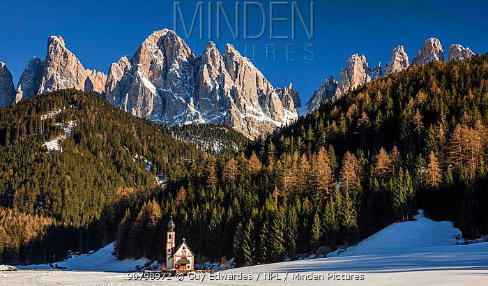 Odle range, Val di Funes, South Tyrol, Dolomites, Italy. March 2016
