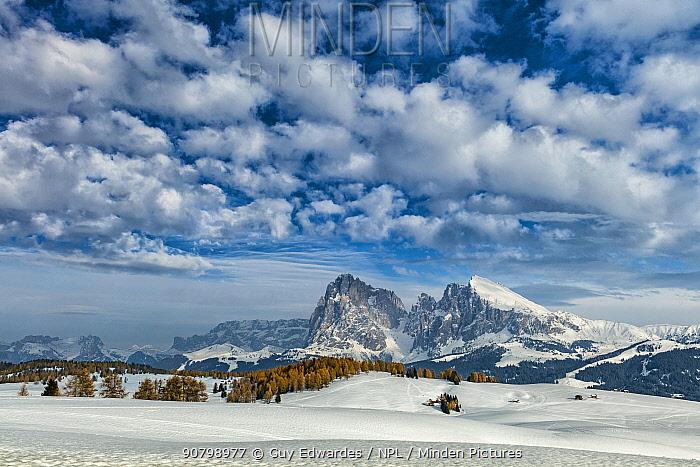 Landscape of Alpe di Siusi, Dolomites, Italy, March 2016.