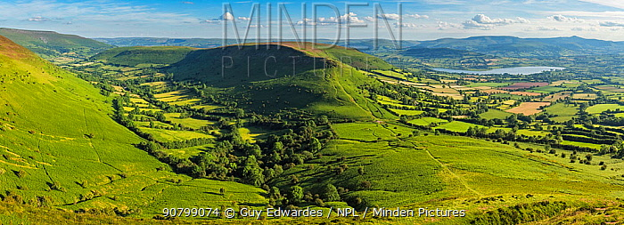 View over Llangors from Mynydd Troed, Brecon Beacons, Powys, Wales, UK. June 2014