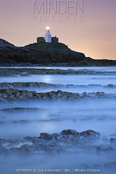 Mumbles Lighthouse near Swansea, Wales, UK, March 2008.