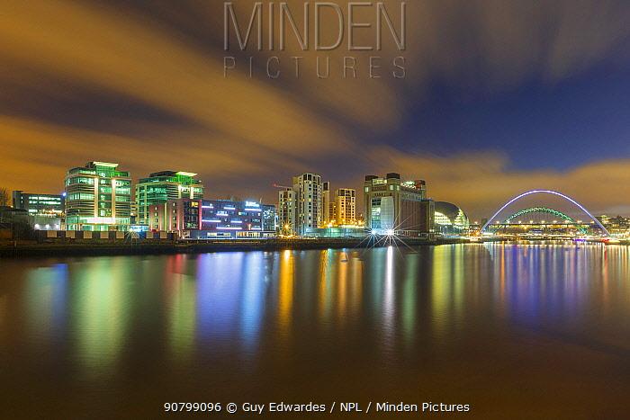 Millenium Bridge illuminated at dusk, River Tyne, Newcastle, Tyne and Wear, England. February 2013