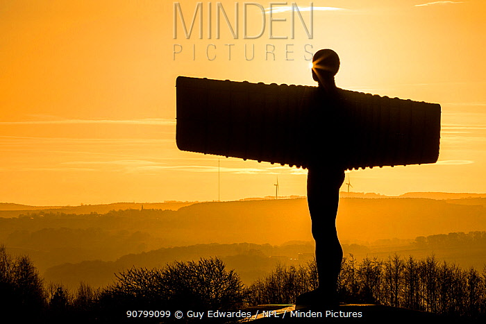 The Angel of the North at sunset, Gateshead, Tyne and Wear, England, UK, December 2012.