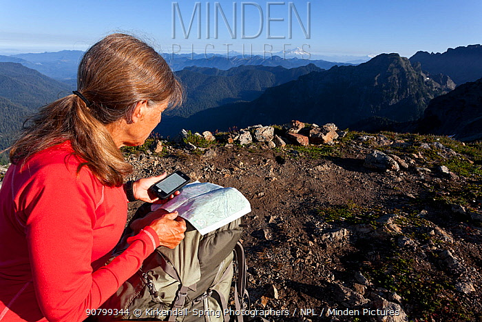 Woman navigating with the aid of GPS on a mobile phone, Boulder River Wilderness, Mount Baker-Snoqualime National Forest, Washington, USA. August 2014. Model released.