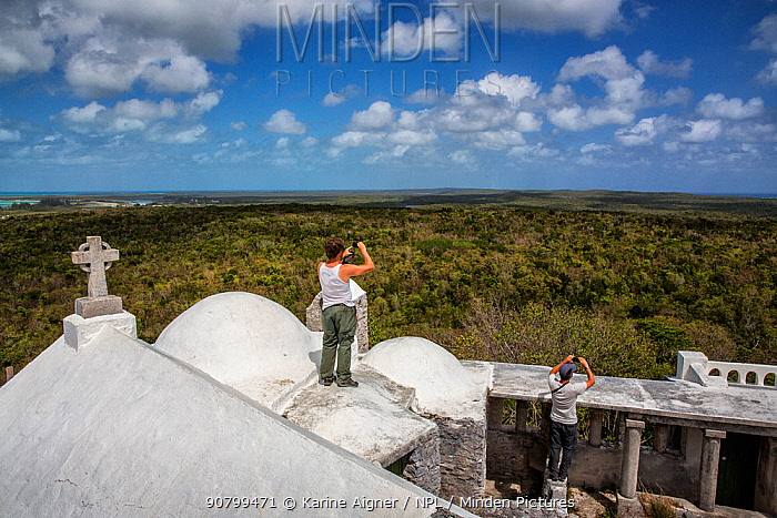 Scientists Nathan Cooper and Chris Fox looking out over Mount Alvernia / Como Hill - the highest point in the Bahamas. They are looking out on Kirkland's Warbler habitat. Cat Island, Bahamas.
