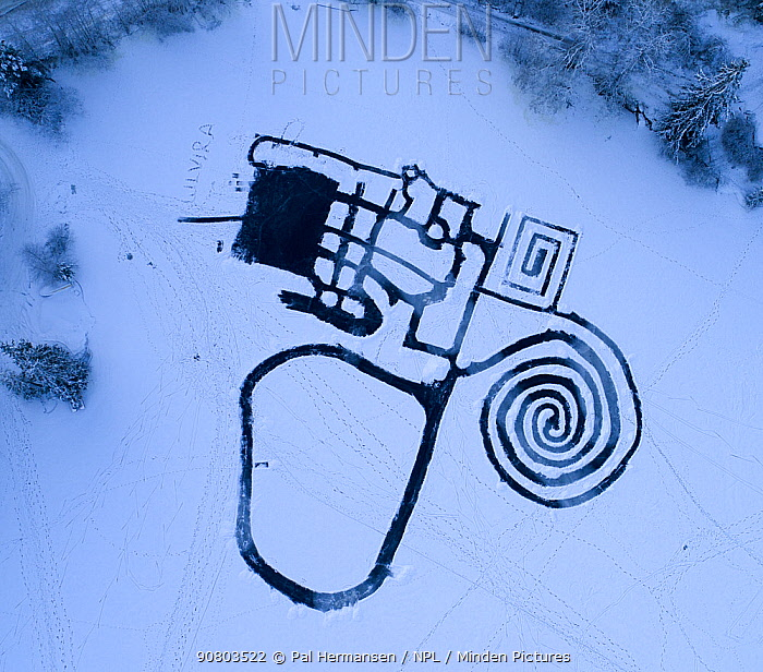 Skating area labyrinth surrounded by snow, aerial view. Akershus, Norway. December 2017.