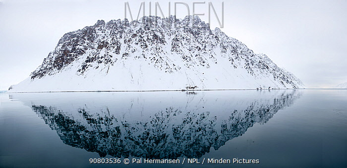 Snow covered mountain reflected in sea. Lillienhookfjorden, Spitsbergen, Svalbard, Norway. April 2018.