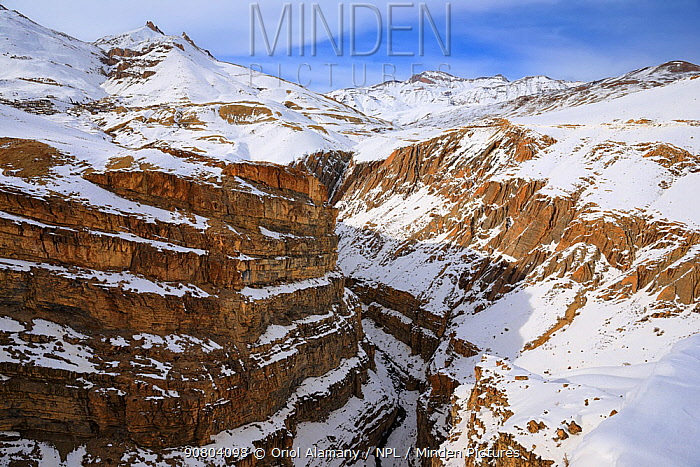 Kibber canyon in Spiti valley, Cold Desert Biosphere Reserve, Himalaya mountains, Himachal Pradesh, India, February