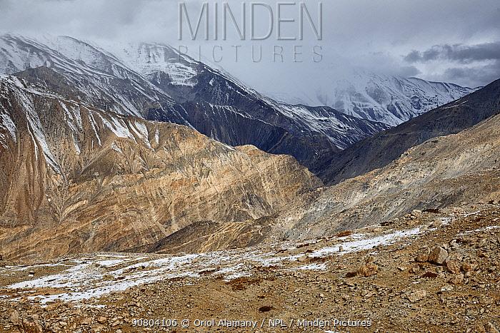 Mountain ranges with snow seen from around Nako village, in Hangrang valley, near the Indo-China (Tibet) border, Himalaya mountains, Kinnaur, Himachal Pradesh, India