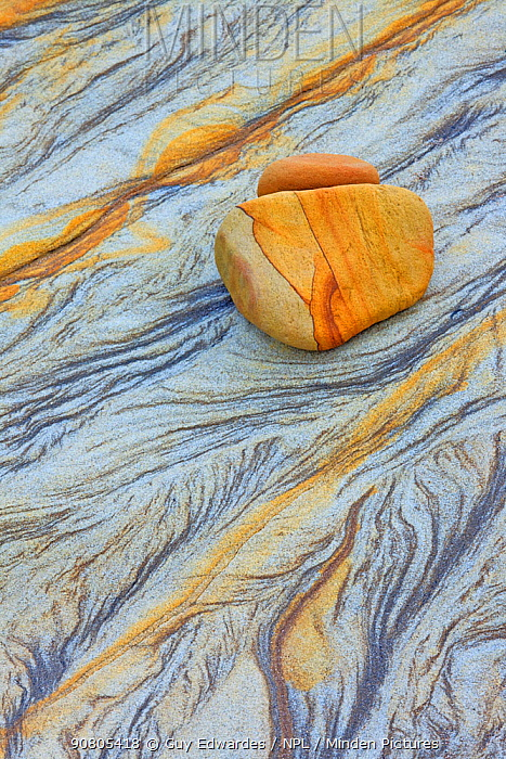 Detail of abstract patterns in rock, Northumberland Coast, England, UK.