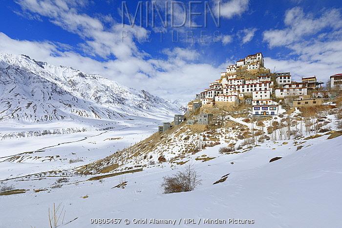 Key monastery at 4,170 metres,Spiti valley, Cold Desert Biosphere Reserve, Himalaya mountains, Himachal Pradesh, India, February