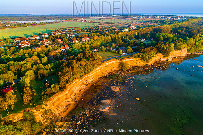 Aerial view of Baltic Sea coast and Baltic Klint cliffs in morning light. Harjumaa, Northern Estonia. May 2018.