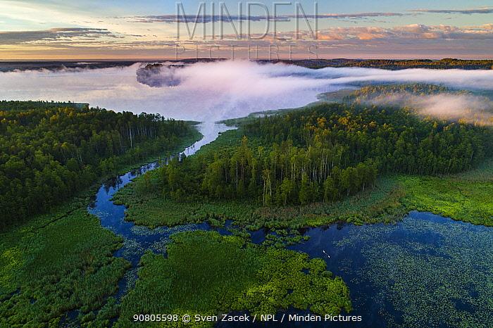Aheru Lake at dawn, aerial view. Karula National Park, Valgamaa, Southern Estonia. June 2017.