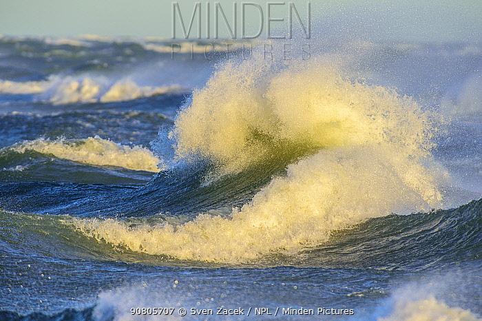 Waves crashing in autumn storm. Vilsandi National Park, Saaremaa Island, Western Estonia. December 2015.