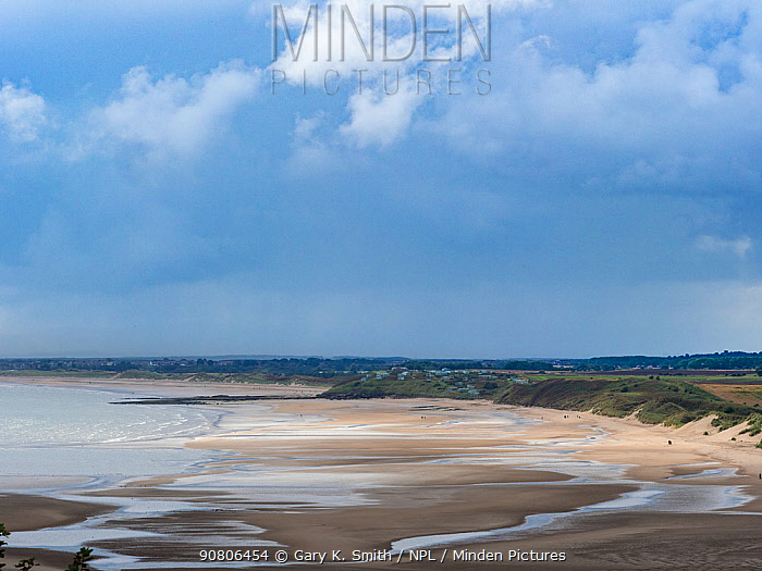 View of the beach at Alnmouth, Northumberland, England, UK. September 2017