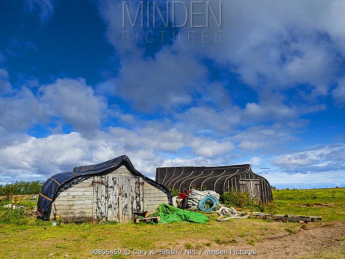 Fishermens huts and equipment, Lindisfarne, Northumberland, September 2017.