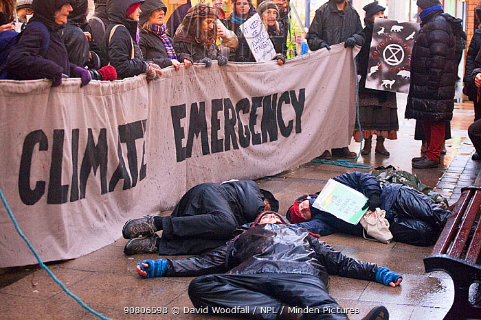 Extinction Rebellion protestors lying down in protest. Carmarthen ,Wales, December 2018.