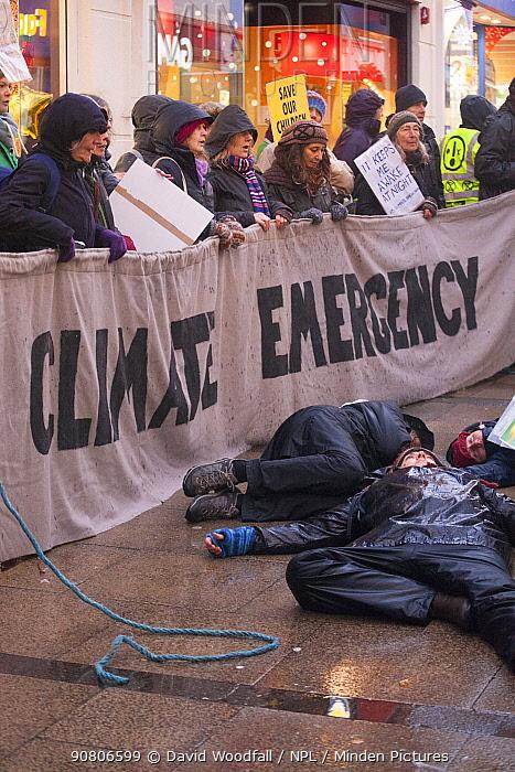 Extinction Rebellion protest in Carmarthen ,Wales, UK. December 2018