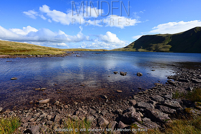Llyn y Fan Fawr; a natural glacial lake and Fan Brycheinog, the Black Mountain / Mynydd Du, Brecon Beacons National Park, Breconshire, Wales. August 2018.