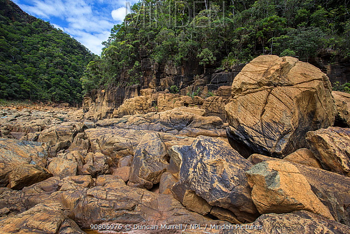 Boulders in the Yate River, valley, Yate, South Province, New Caledonia.