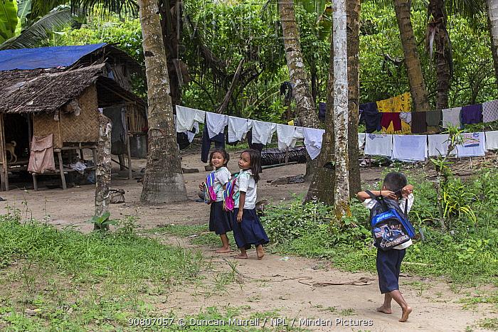 Batak children returning from school, Sitio Manggapin, Cleopatra's Needle Critical Habitat, Palawan, the Philippines.