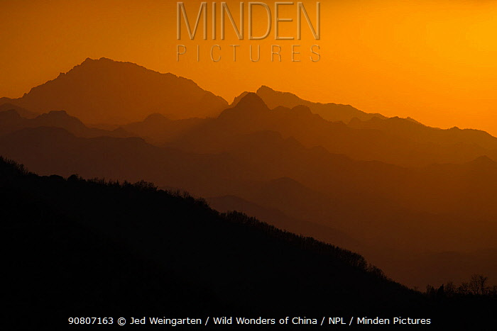 Sunset in Qinling Mountains, Shaanxi Province, China, April.