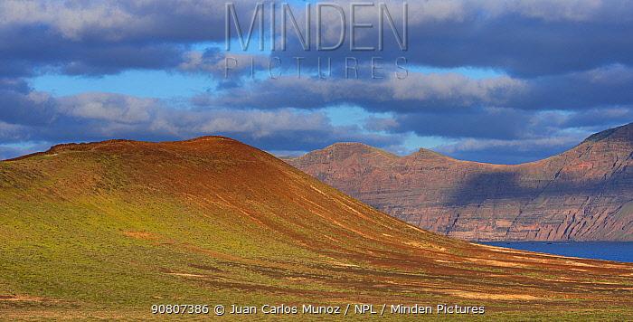 Landscape of Riscos de Famara, Lanzarote Island, Canary Islands.